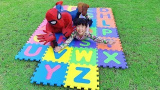 Yuni and Grandfather play and Learn English Alphabet with ABC song   Nursery Rhymes for kids