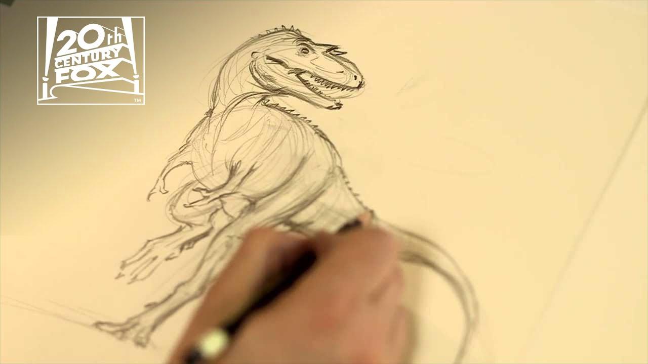 Line Drawing Fox : Walking with dinosaurs drawing gorgon 20th century fox youtube