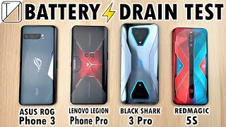 Asus ROG Phone 3 vs Lenovo Legion Phone vs RedMagic 5S vs Black Shark 3 Pro Battery Life DRAIN TEST!