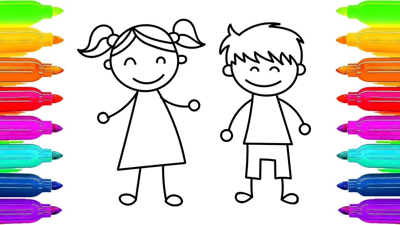 Cómo Dibujar Niños Niña Y Niño Aprendiendo A Colorear
