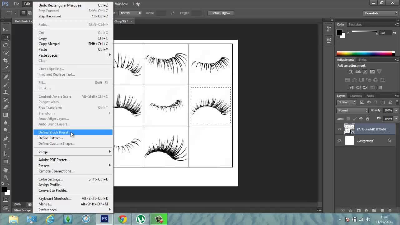 Photoshop Cs6 Creating Eyelash Brush Youtube