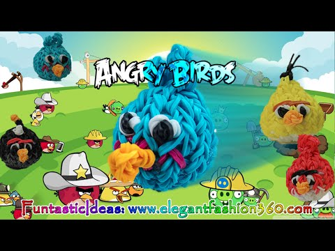 Rainbow Loom Angry Birds (Blue Bird) 3d Charms - How to Loom Bands tutorial by Elegant Fashion 360