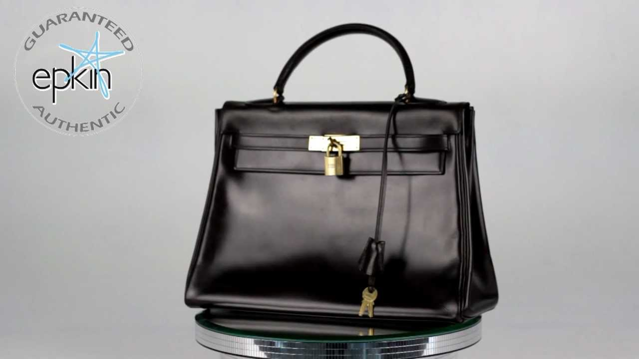 Hermes Kelly 32 cm Box Calf Leather Handbag Bag Gold HW Brown ...