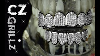 Bling Teeth Grillz Set CZ Cubic ZIrconia Top & Bottom Silver Tone Hip Hop Grills