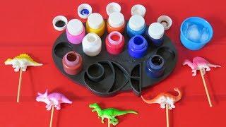 How To Paint with Frozen Paint Colors Dinosaur Lollipop | Learn Colors Videos For Kids Preschool