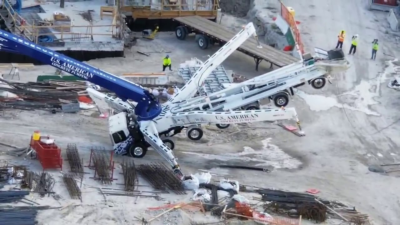 Concrete Pump flips over, accident that looks like it could of been