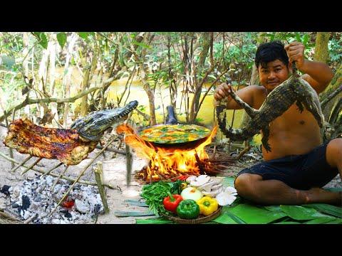 cooking-crocodile-meat-bbq---grilled-crocodile-bbq---cook-crocodile-meat-soup