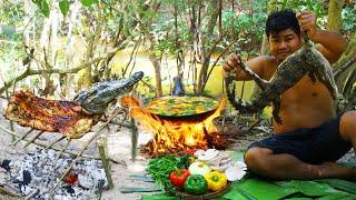 Cooking Crocodile meat bbq - Grilled Crocodile bbq - cook Crocodile meat Soup