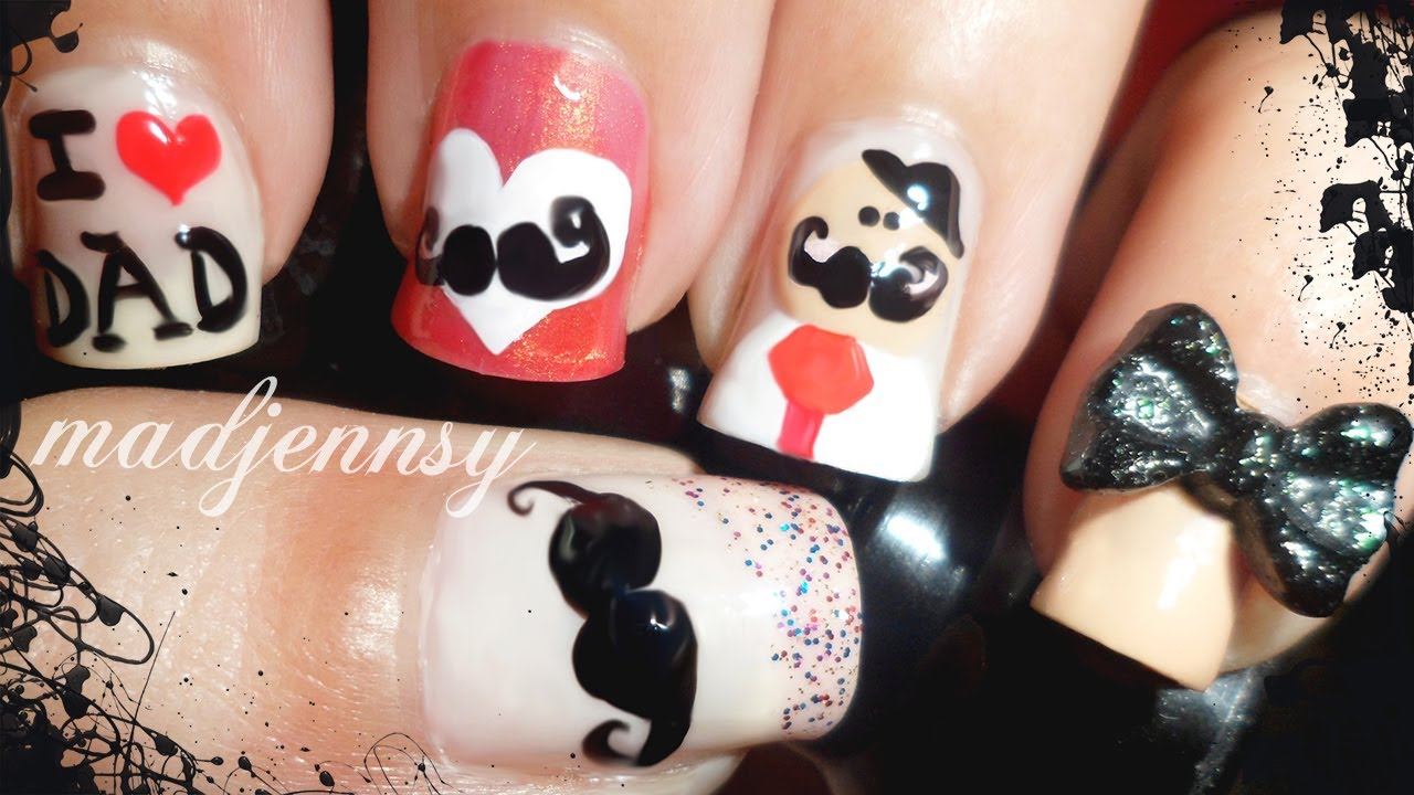 Happy Father\'s Day Nail Art | 2014 (Short Nails) - YouTube