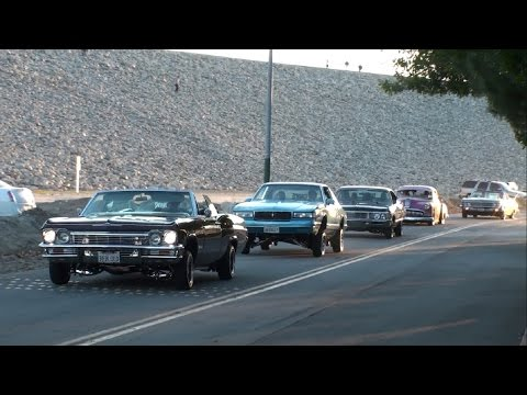 Lowriders Leaving the 2016 Majestics Car Club New Years Picnic Part 1
