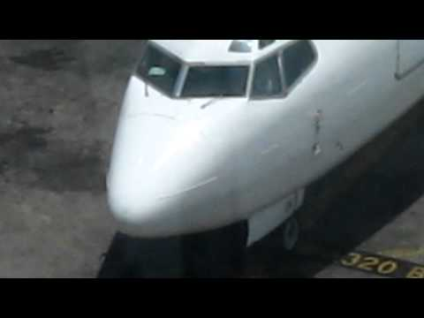 Air Mediterranee Boeing 737 taxing to gate terminal 3 at Benguion airport-Israel