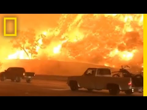 Watch Drivers Flee a Fire Engulfing California Freeway | National Geographic