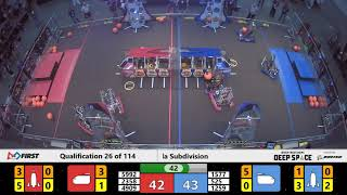 Qualification 26 - 2019 FIRST Championship - Detroit - Tesla Subdivision