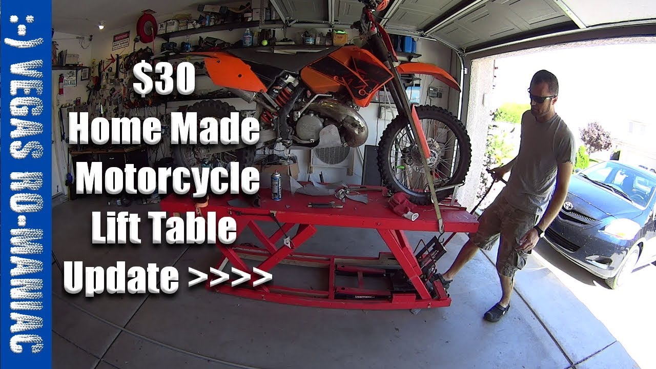 Home Made Wood Hydraulic Motorcycle Lift Work Table 6