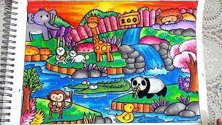 Cara Menggambar Dan Mewarnai Ilustrasi Kebun Binatang Gradasi Warna Oil Pastel Untuk Pemula Youtube