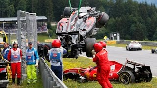 F1 Austrian GP  Crash between Raikkonen and Alonso - Spielberg 2015
