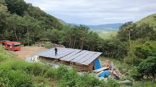 오두막 짓기,지붕판넬 고정작업(9,16)