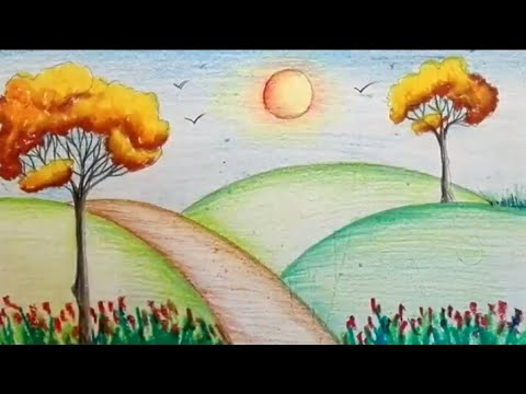 How to draw a garden scenery of summer/ spring season step by step ...