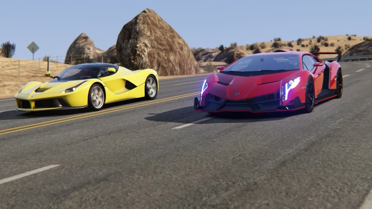 Battle Lamborghini Veneno Vs Ferrari Laferrari At Black Cat Country