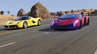 Battle Lamborghini Veneno vs Ferrari LaFerrari at Black Cat Country