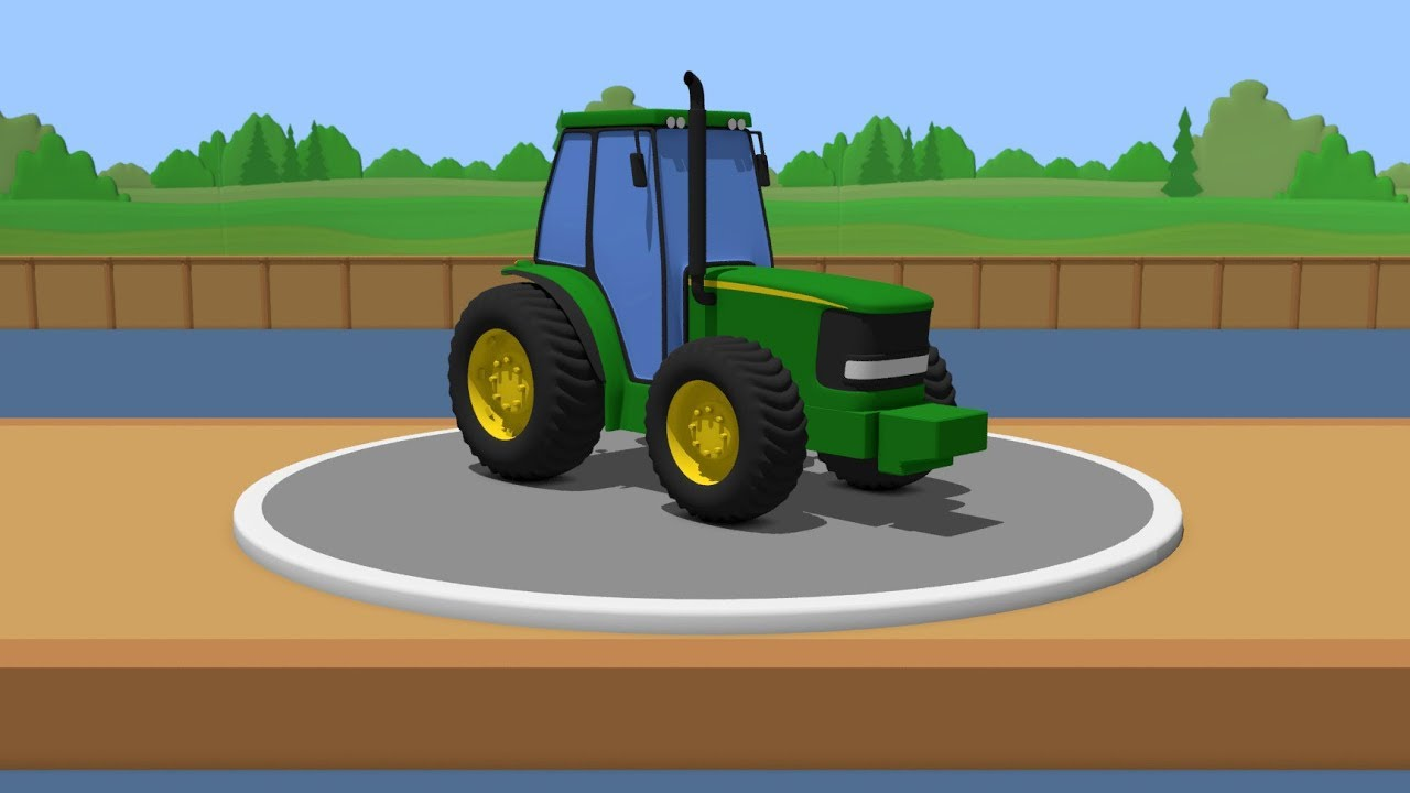 Building And Testing John Deere Tractor Cartoon For Kids Youtube