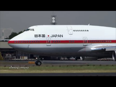 Japanese Air Force One Double Boeing 747's w/ Emperor & Empress Depart Manila