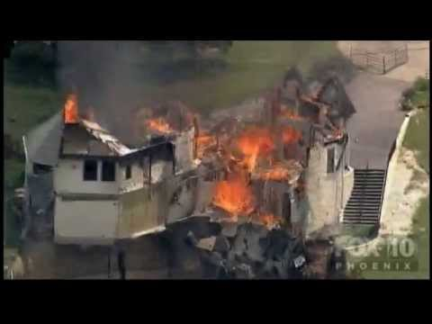 Million-dollar mansion burns down and falls off a cliff