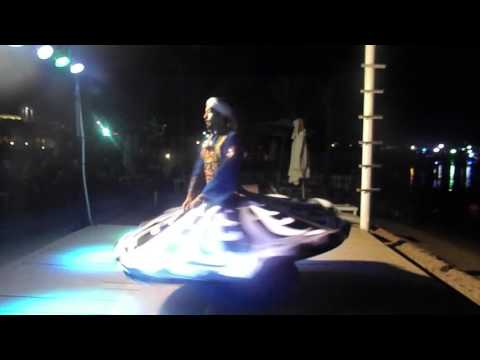 Entertainment daily show in Sharm El Sheikh, Egypt. Tannora or skirt folk dance show.