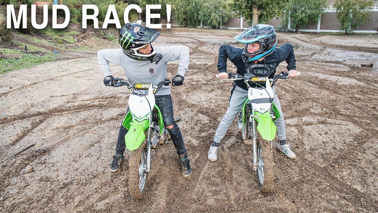 PIT BIKE MUD RACE VS TANNER FOX!!