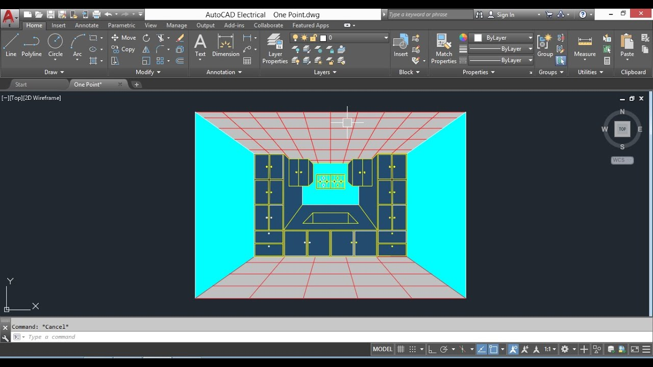 One Point Perspective view in AutoCAD YouTube