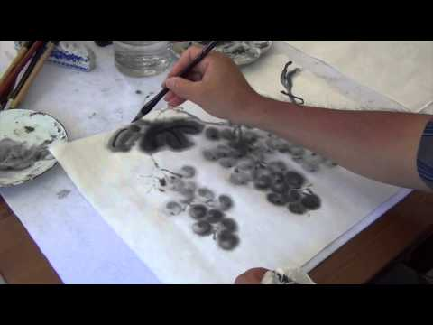 Painting Grapevine with Grasshopper on Red Star Xuan Rice Paper with Henry Li