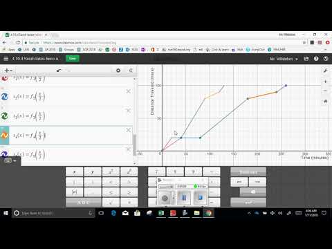 4 10 Sarah graph function  and table distance v  time part 3 takes twice as long