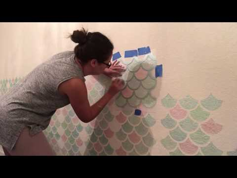 How To Stencil Mermaid Scale Wall | Easy & On A Budget!