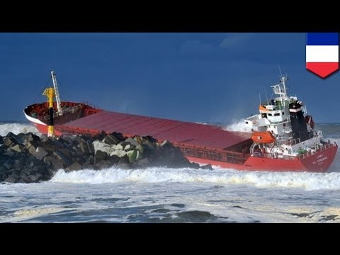 Superior Cargo Ship Breaks In Two After Hitting Sea Wall