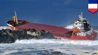 Cargo ship breaks in two after hitting sea wall
