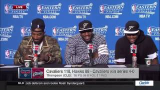 J.r. smith takes selfie in press conference | hawks vs cavaliers | game 4 | 2015 nba playoffs