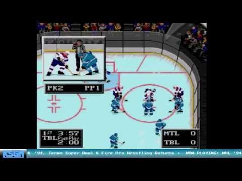 Tampa Bay Lightning vs Montreal Canadiens - NHL '94 with NHL '16 Rosters - Sega Genesis
