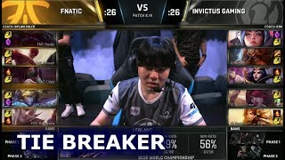 FNC vs IG - Tie Breaker | Day 8 Group D Decider S8 LoL Worlds 2018 | Fnatic vs Invictus Gaming