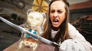 GIANT Gummy Bear Skeleton? | Destroying Matthias' Products!