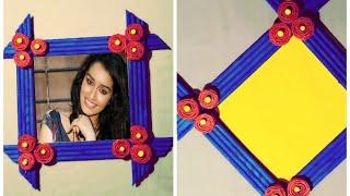 DIY||News paper stick photo frame//wall hanging||photo frame//newspaper craft