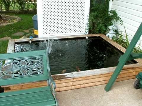 Small backyard koi pond 1000 1200 gal ez build diy youtube for Wooden koi pond construction