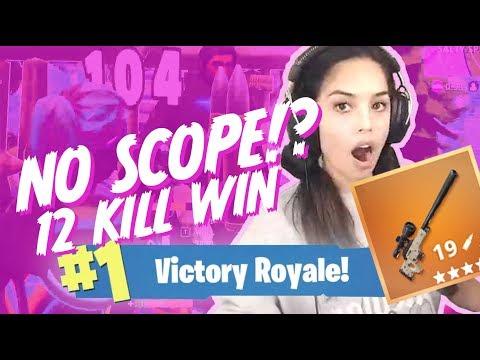 Accidental No Scope! 12 Kill Solo Win - Valkyrae Fortnite
