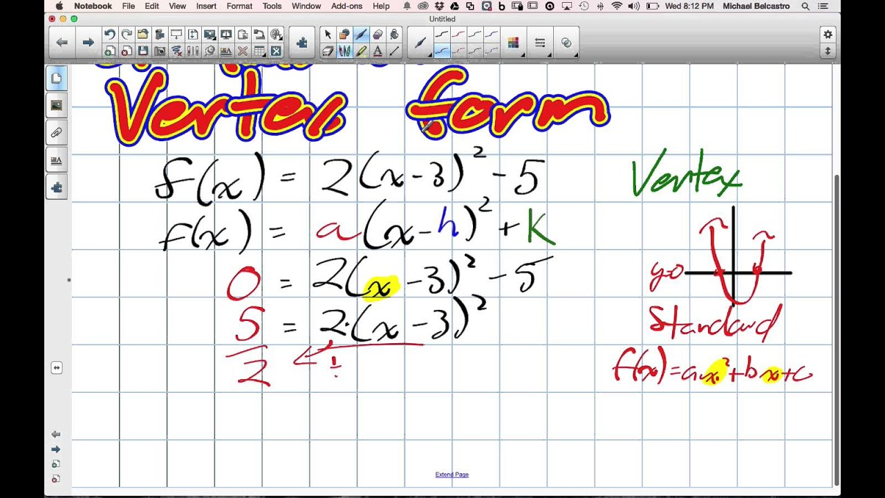 Finding X Intercepts of Quadratics in Vertex Form Grade 11 mixed Lesson 3 5  11 6 14 - YouTube