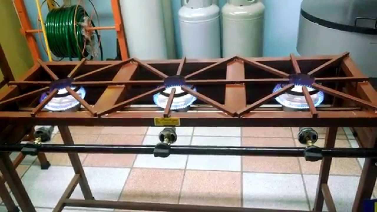 Estuf n de herrer a 3 quemadores para gas lp youtube for Estufas de cocina de gas