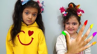Öykü and Masal pretend play with play doh  nails funny kid video