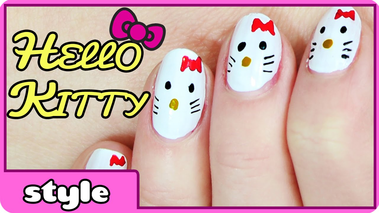 Hello Kitty Nail Art - YouTube