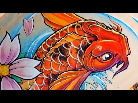 time lapse drawing koi fish carpe koi tattoo style youtube. Black Bedroom Furniture Sets. Home Design Ideas