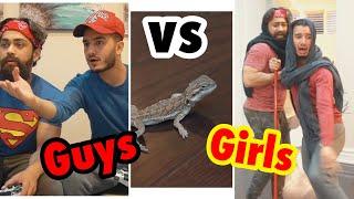 GUYS vs GIRLS: Reacting to Lizards... (Skit Sunday)