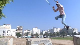 Palestinian youth determined to continue parkour despite losing leg