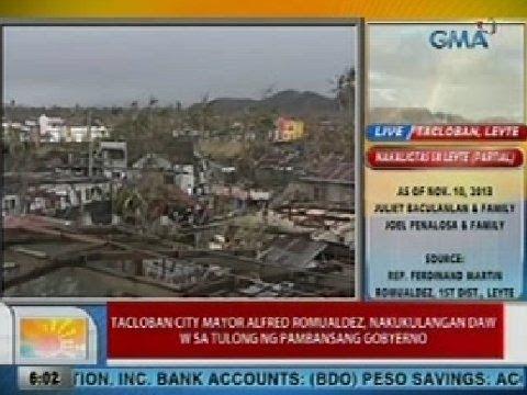 UB: Tacloban City Mayor Romualdez, nakukulangan daw sa tulong ng pambansang gobyerno